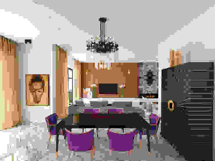 Столовая-гостиная Гостиные в эклектичном стиле от ELENA BELORYBKINA Эклектичный