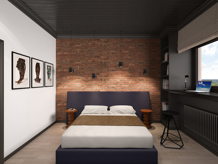 Industrial style bedroom by ELENA BELORYBKINA Industrial