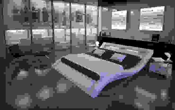 Cama de matrimonio de diseño Calpe en color blanco de homify Moderno