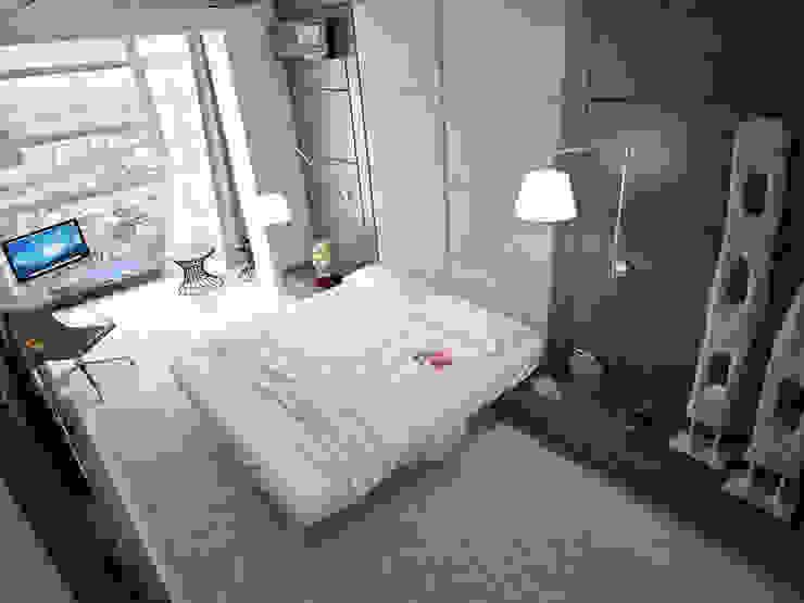 Современная квартира-студия. г. Казань Спальня в стиле минимализм от премиум интериум Минимализм