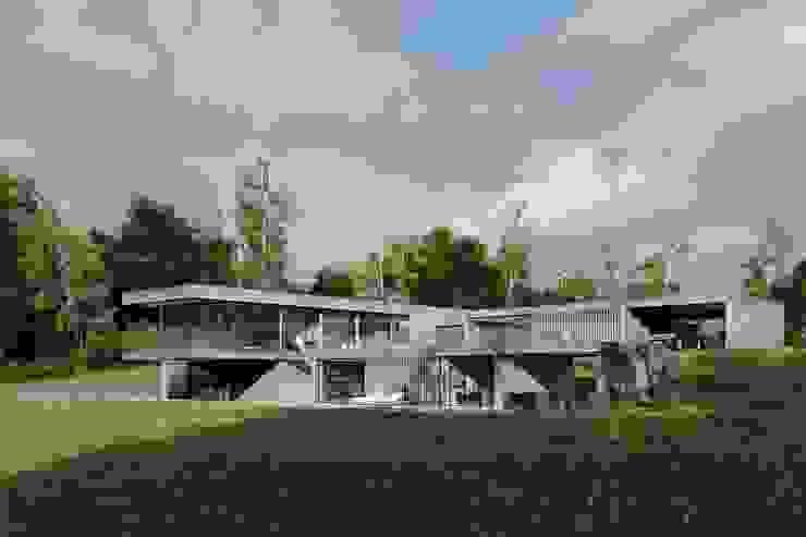 Dom z betonu / perspektywa 1 Minimalistyczne domy od Easst.com Minimalistyczny