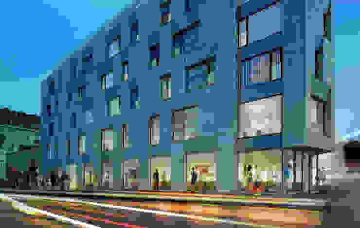 Półwiejska 47 / budynek mieszkalny - wizualizacja wieczorna 03 od Easst.com Nowoczesny