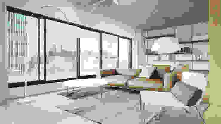 Półwiejska 47 / budynek mieszkalny - wizualizacja wnętrza 01 / mieszkanie od Easst.com Nowoczesny