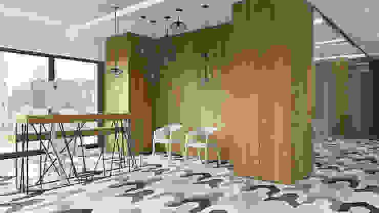Półwiejska 47 / budynek mieszkalny - wizualizacja wnętrza 03 / biuro od Easst.com Nowoczesny