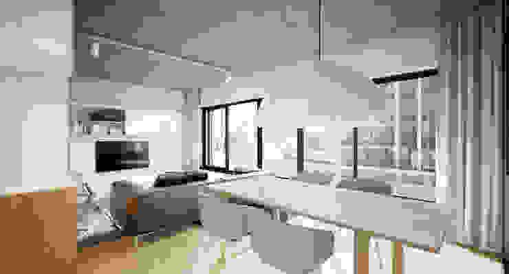 Półwiejska 47 / budynek mieszkalny - wizualizacja wnętrza 07 / mieszkanie / salon od Easst.com Nowoczesny