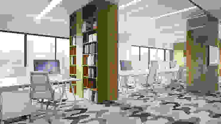 Półwiejska 47 / budynek mieszkalny - wizualizacja wnętrza 04 / biuro od Easst.com Nowoczesny