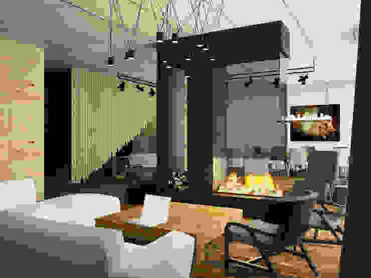 Дом-бетон Гостиная в стиле минимализм от Grynevich Architects Минимализм