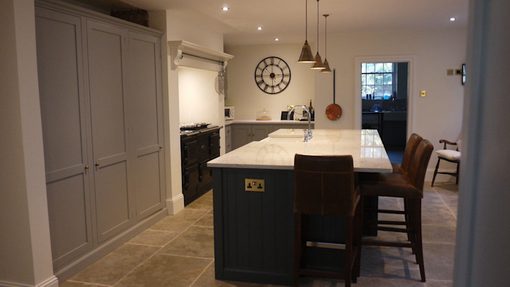 Umbrian Limestone - Pantry Blue and Damask deVOL Kitchen Eclectic style kitchen by Floors of Stone Ltd Eclectic