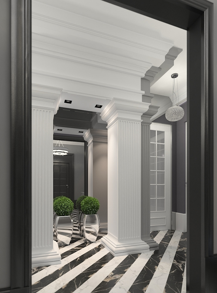 Classic style corridor, hallway and stairs by FEDOROVICH Interior Classic
