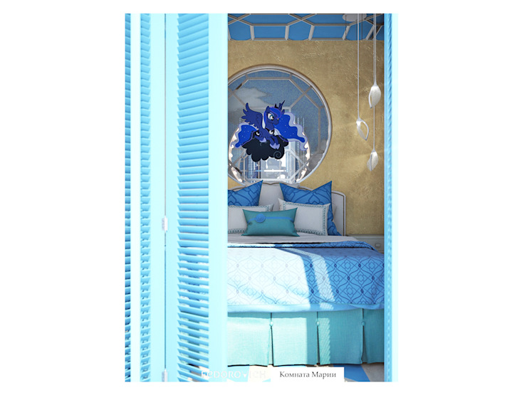 Лавандово-лазурный прованс с парижским акцентом Спальня в стиле кантри от FEDOROVICH Interior Кантри