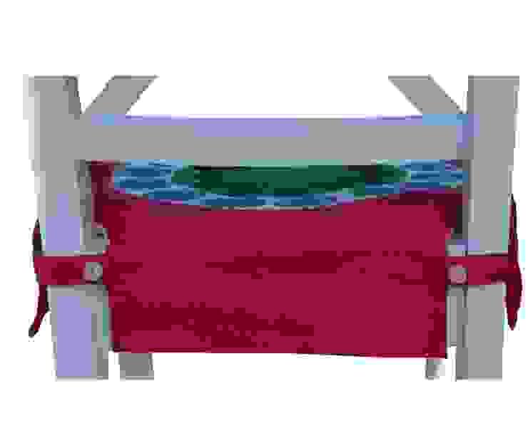 pokrowiec na krzesło czerwony folk od Drewniany Guzik Wiejski