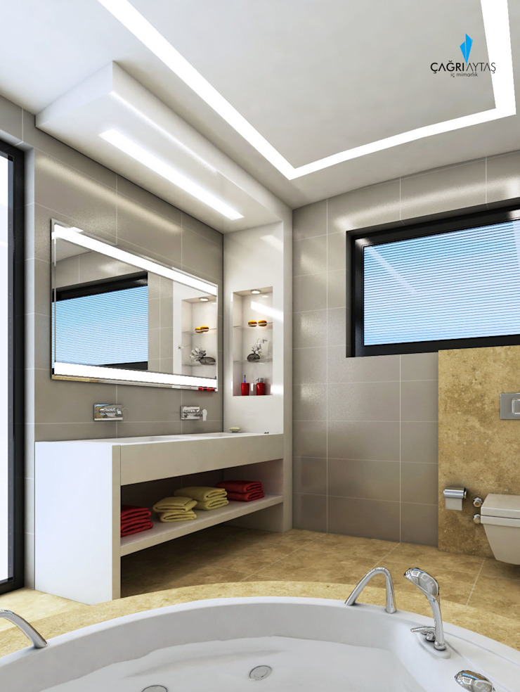 HANEDAN KONUTLARI Modern Banyo Çağrı Aytaş İç Mimarlık İnşaat Modern