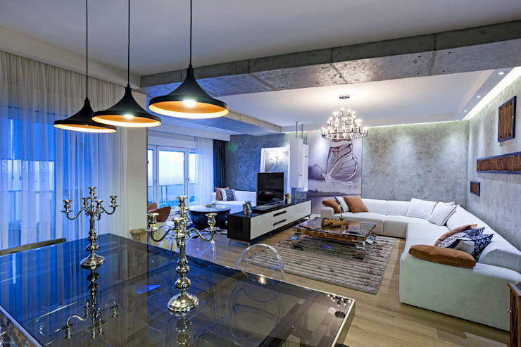 Salones de estilo moderno de Mimoza Mimarlık Moderno