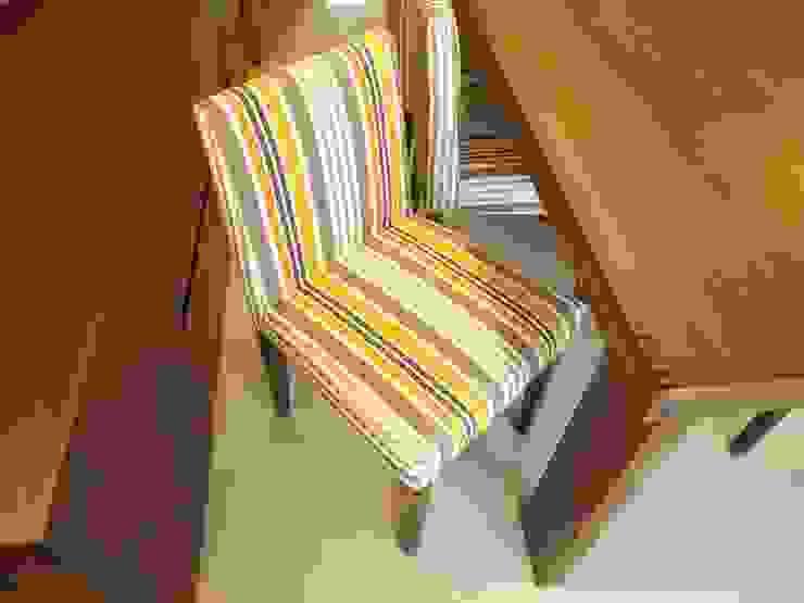 Pormenor da cadeira Salas de jantar rústicas por Traço Magenta - Design de Interiores Rústico