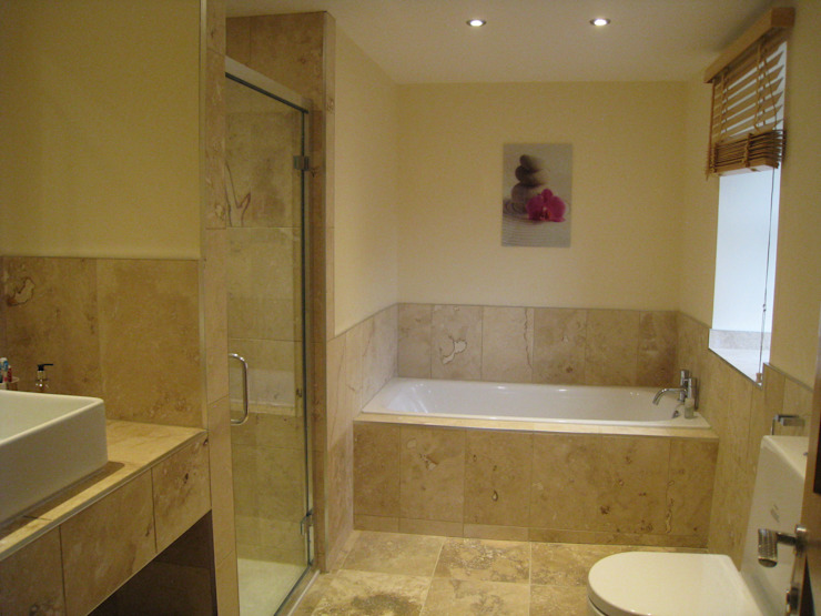 Southview    Classic Travertine Modern bathroom by Floors of Stone Ltd Modern