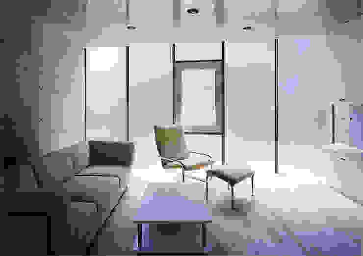 ウナギの寝床状敷地の家 モダンデザインの リビング の スタジオ4設計 モダン