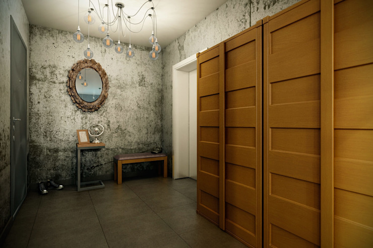 Industrial style corridor, hallway and stairs by CO:interior Industrial