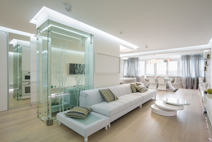 WHITE & WHITE: Гостиная в . Автор – ANNA SHEMURATOVA \ interior design, Минимализм