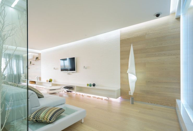 WHITE & WHITE Гостиная в стиле минимализм от ANNA SHEMURATOVA \ interior design Минимализм