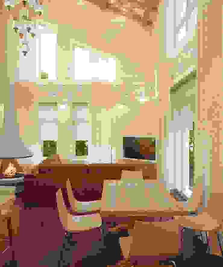 Ruang Keluarga Gaya Eklektik Oleh Студия дизайна интерьера 'Золотое сечение' Eklektik Kayu Wood effect