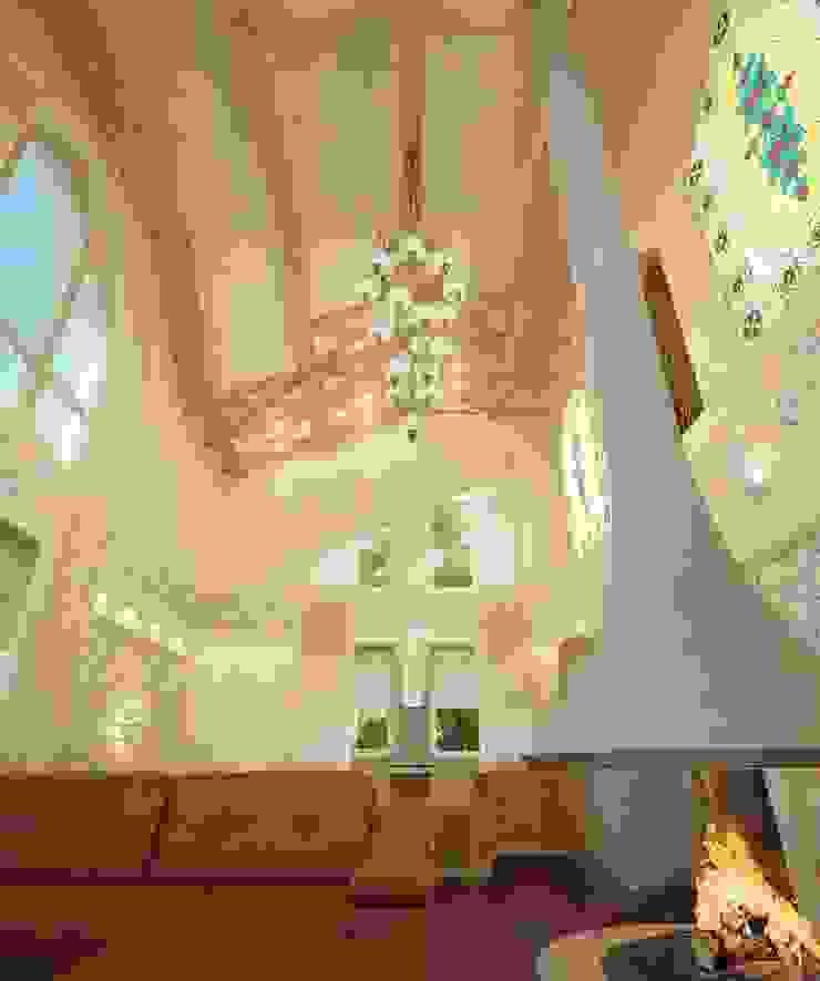 Livings de estilo ecléctico de Студия дизайна интерьера 'Золотое сечение' Ecléctico Madera Acabado en madera