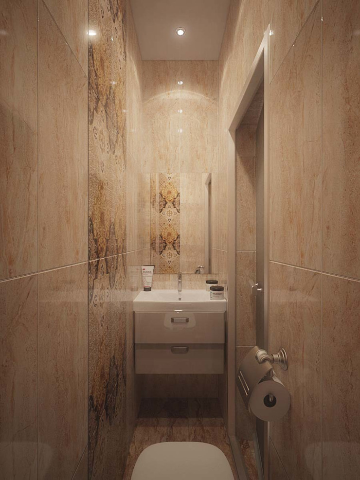 Minimalist style bathrooms by Студия дизайна интерьера 'Золотое сечение' Minimalist Ceramic