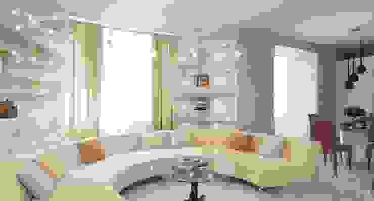 Salones minimalistas de Студия дизайна интерьера 'Золотое сечение' Minimalista Vidrio