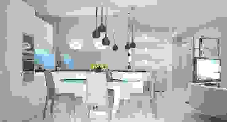 Cocinas minimalistas de Студия дизайна интерьера 'Золотое сечение' Minimalista Vidrio