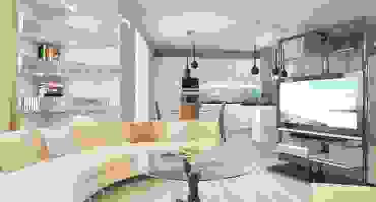 Minimalist living room by Студия дизайна интерьера 'Золотое сечение' Minimalist Glass