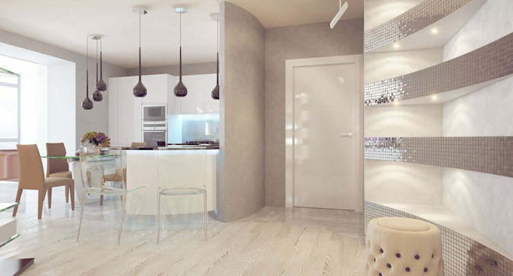 Paredes y pisos de estilo minimalista de Студия дизайна интерьера 'Золотое сечение' Minimalista Vidrio