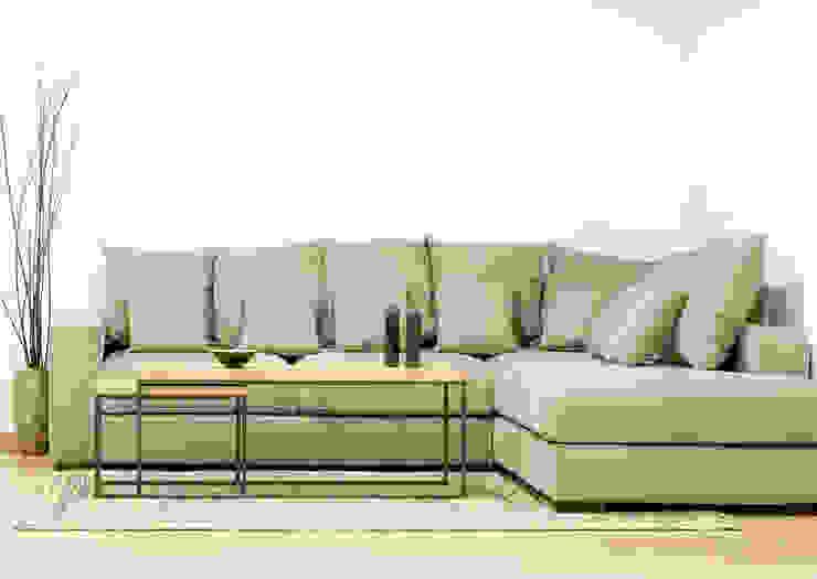 Sofá modular con chaise longue en tela de color gris de Cube Deco Moderno