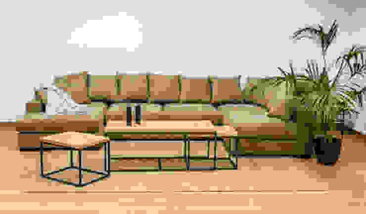 Sofá modular con dos chaise longue en tela color topo de Cube Deco Moderno