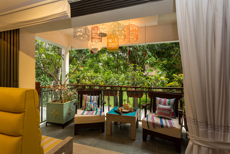 Eclectic Apartment Asian style balcony, veranda & terrace by The Orange Lane Asian