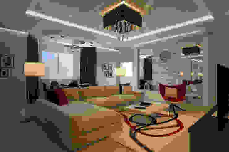 Квартира в Митино Гостиная в стиле минимализм от Geometrium Минимализм
