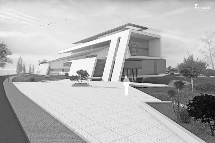 Designstudie Bürogebäude bauen FLOW Moderne Häuser Beton Weiß