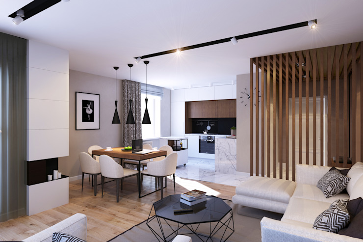 Квартира на Богатырском Гостиная в стиле минимализм от Geometrium Минимализм