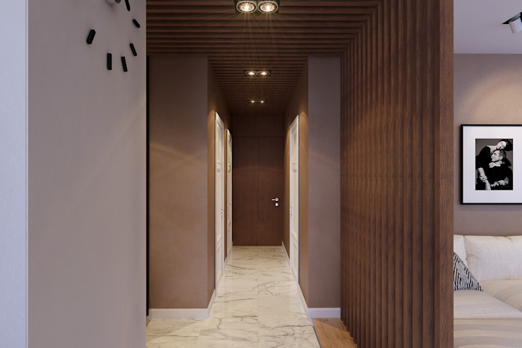 Квартира на Богатырском Коридор, прихожая и лестница в стиле минимализм от Geometrium Минимализм