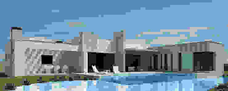 Terraza sur con piscina-lago Casas de estilo moderno de Rubén Sánchez Albillo. Arquitecto Moderno