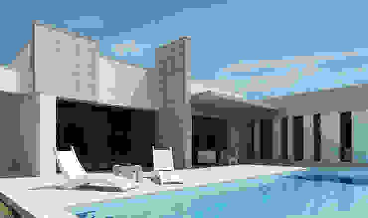 Detalle terraza sur Casas de estilo moderno de Rubén Sánchez Albillo. Arquitecto Moderno