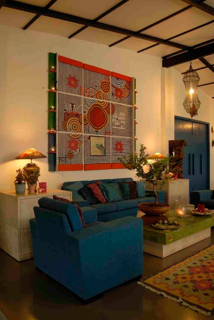 A house in Karjat The Orange Lane Rustic style living room