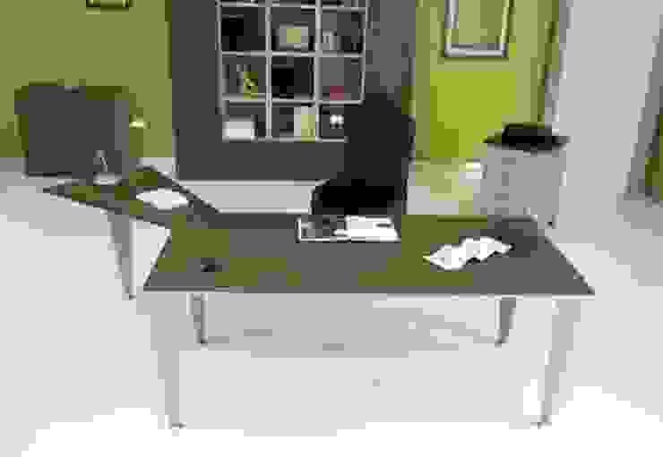 Ufficio completo con scrivania con allungo trapeizodale di melicos Moderno