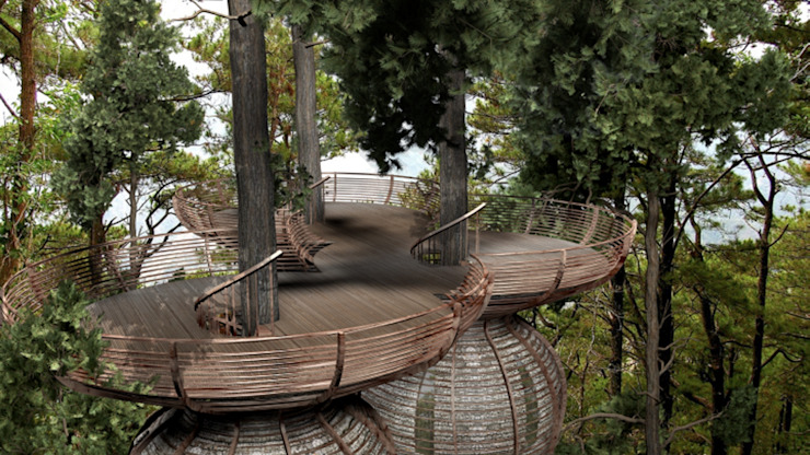 Roost Tree House Modern balcony, veranda & terrace by antonygibbondesigns Modern