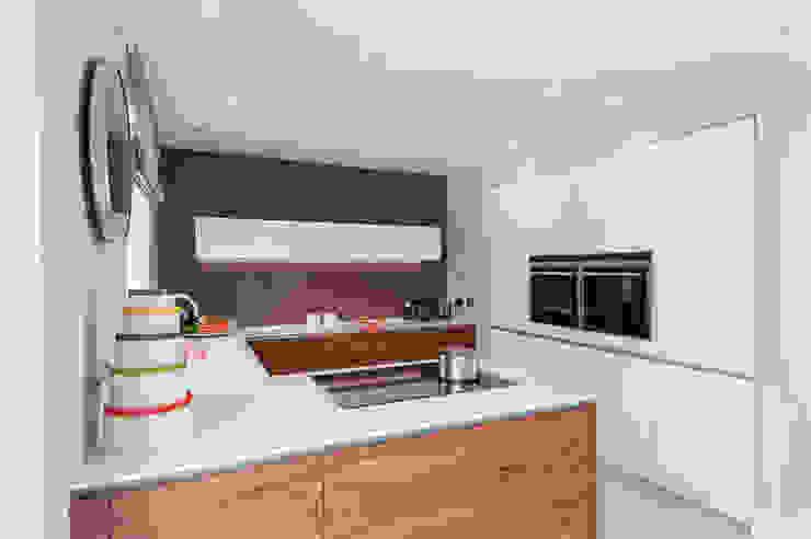 Urban Life gloss white and walnut kitchen Modern kitchen by Urban Myth Modern