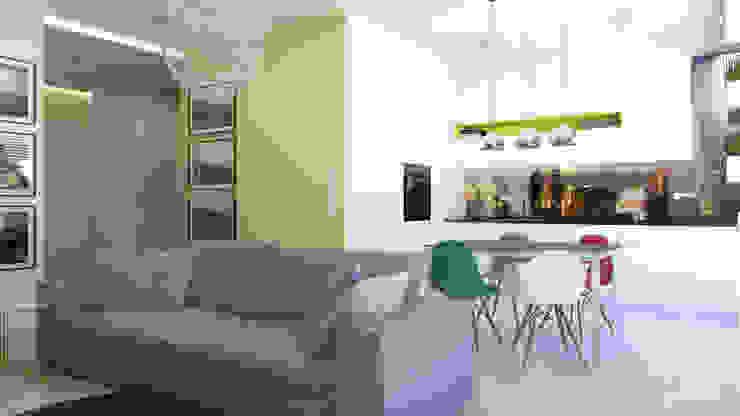 Część dzienna - salon, kuchnia Skandynawska kuchnia od ADV Design Skandynawski