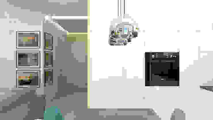 Część dzienna - kuchnia, hol Skandynawska kuchnia od ADV Design Skandynawski