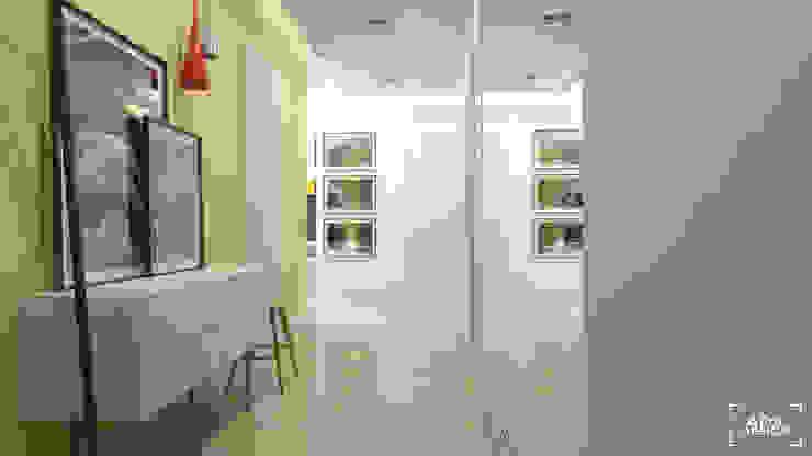 Część dzienna - hol Skandynawski korytarz, przedpokój i schody od ADV Design Skandynawski