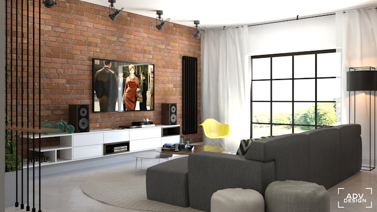 Phòng khách phong cách công nghiệp bởi ADV Design Công nghiệp