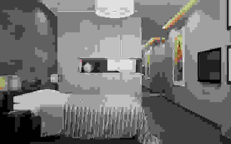 СТРОГОСТЬ КОНТРАСТА Спальня в стиле минимализм от GOODHOUZZ Минимализм