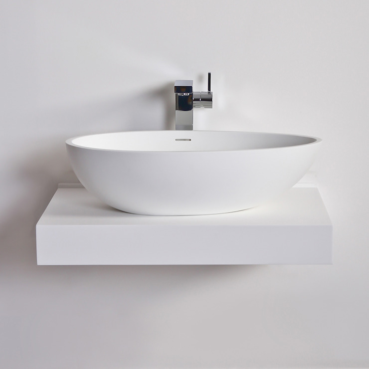 Lusso Stone Egg shell Solid surface stone resin counter top basin 600: modern  by Lusso Stone, Modern