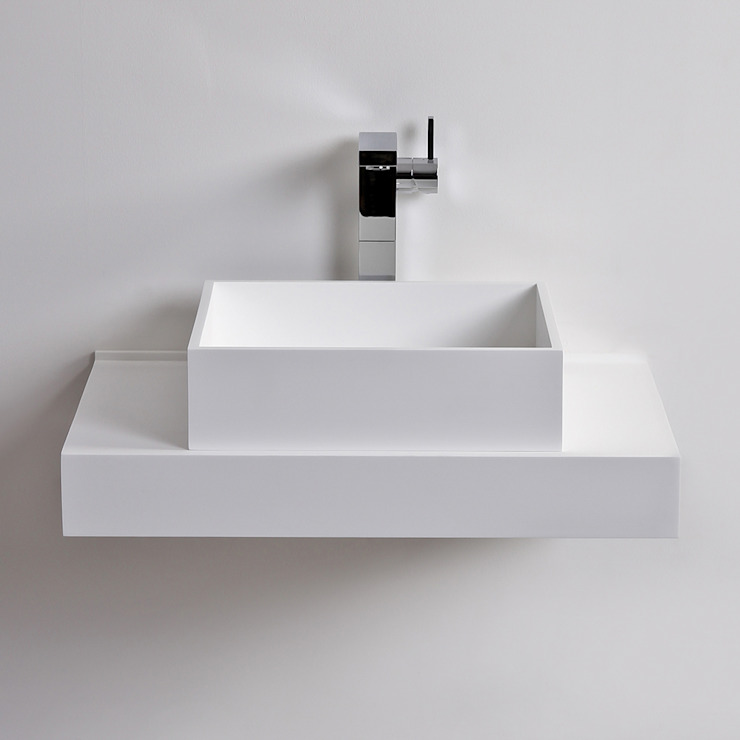 Lusso Stone Cube Solid surface stone resin counter top wall hung basin 400: modern  by Lusso Stone, Modern